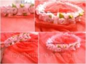 Обруч «Венок» с цветками розовый.