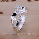 Tiffany кольцо «сердце с кристаллами» (покрытие серебро 925).