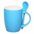 Чашка голубая с ложкой под нанесение