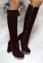 Зимние натуральные замшевые сапоги на каблуке