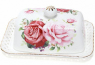 Масленка «Букет роз»-140 17x12x6.5см, фарфоровая