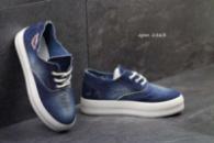 Женские слипоны Gipanis синие на шнурках