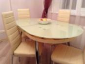 Стол овальный стеклянный раздвижной B806, стол обеденный стеклянный B806 киев, стол кухонный стеклянный