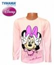 Пайта для девочек (реглан, лонгслив) «Улыбнись с Минни» розовая, бренд Дисней («Disney»)