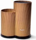 Подставка-колода Fissman Wood для кухонных ножей и ножниц 23х11х11см, двойная