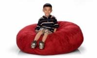 Красный кресло-мешок из велюра