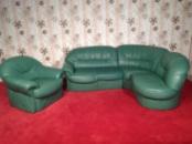 Кожаный угловой диван с креслом из Германии