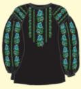 Сорочка женская под вышивку, черная, длинный рукав