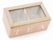 Коробка-шкатулка «I Love Tea» для чая и сахара 2-х секционная 16x9x7см