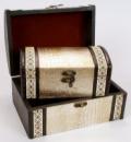 Набор из двух деревянных шкатулок «Сундучок Кожа Люкс», 22x15x11см и 18x11x8см