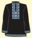 Сорочка мужская под вышивку, черная, длинный рукав