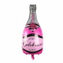 Шар фольгированный Бутылка шампанского розовая 90 см