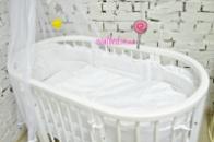 Набор постельного в кроватку «Стежка белая с рюшами» Сатин люкс
