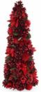 Декоративная елка «Красные цветы» 48см с натуральными шишками