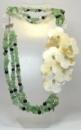 Ожерелье из нефрита, агата и цветов Перламутра «Китайская роза»