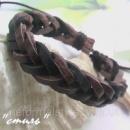 Кожаный браслет-феничка «Плетенка» коричневый + черный.