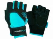 Рукавички для фітнесу PowerPlay 1728 A жіночі Чорно-Блакитні M