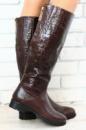 Сапоги зимние коричневые кожаные без каблука евро зима