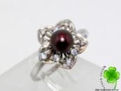 Кольцо серебро 925 с натуральным, черным Жемчугом