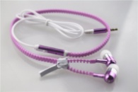 Светящиеся наушники на молнии Zipper Earphones(с микрофоном) фиолетовый