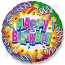 Шар круг из фольги« HAPPY BIRTHDAY» с гелием