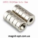 Неодимовый магнит Круглый Поттай Кольцо 12 мм х 5 мм Отверстия 4 мм