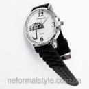 Кварцевые женские часы «зонтик» черный силиконовый браслет.