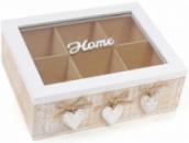 Коробка-шкатулка «Home» для чая и сахара 6-ти секционная 24x18x8см
