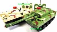 Танковый бой, 2 танка на радиоуправлении, звук, свет, вибрация, отдача, на батарейках