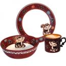 Набор детский 3 предмета «Добра глина» Обезьянка, кружка, пиала и тарелка
