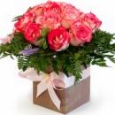 Цветы в коробке «Нежный шелк»