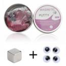 Пластилин магнитный Magnetic Putty в металлическом боксе + 4 глаза Purple