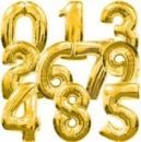 Цифра 90 см наполнена гелием (золото)