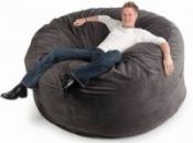 Серый бескаркасный диван из велюра