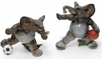 Набор 2 статуэтки «Слоны футболисты» 14см, искусственный камень