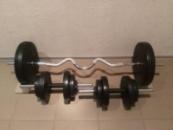 Штанга с W-образным грифом разборная и гантели 35 кг