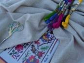 Домоткана рівномірна тканина для вишивання «Павутинка» сірого кольору 130грн/м