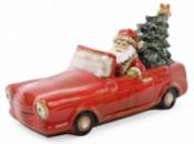 Декор новогодний «Санта в машине» 35х15х18.5см фарфор с LED-подсветкой