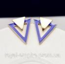Серьги «Треугольник» позолоченные, синие.