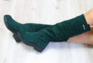 Зимние  замшевые сапоги-трубы без замка изумрудного цвета
