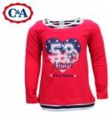 Реглан (футболка с длинным рукавом) двойной эффект красная, бренд «C&A» (Германия)
