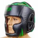 Шлем для бокса(кожа)с полной защитой VENUM CHALLENGER 2.0(VN-5246-G)черно-салатовый