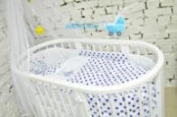 Набор постельного 8в1 «Мишка на луне»(синий)