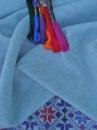 Сіро-блакитна домоткана рівномірна тканина для вишивання «Медея» 130 грн/м