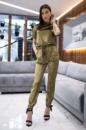 Женский велюровый комбинезон JANET цвета хаки