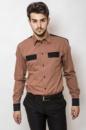 Рубашка мужская с контрастными карманами AG-0000094 Темно-оранжевый
