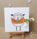 Новогодняя открытка ручной работы овечка с елкой