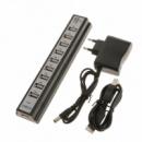 Хаб концентратор Dellta USB 2.0 на 10 портов с блоком питания