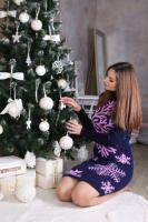 теплое вязаное платье, женское платье туника. платье в снежинки|escape:'html'