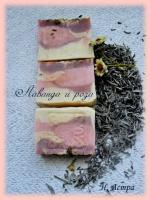 Мыло ручной работы из натуральных масел «лаванда и роза»